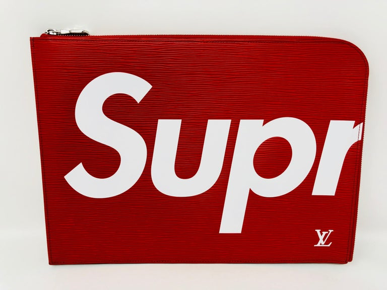Supreme Louis Vuitton Red and White Pochette Jour GM Laptop Case In New Condition For Sale In Athens, GA