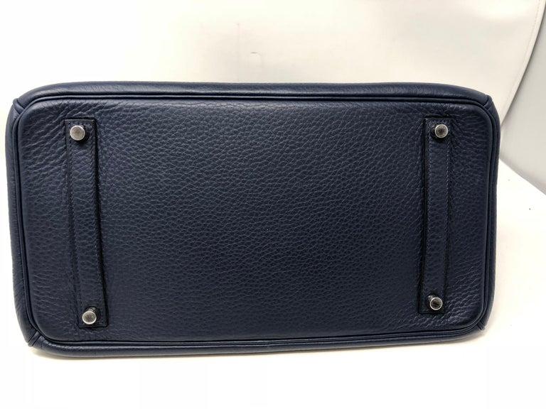 Hermes Bleu Abysse Palladium Hardware Birkin 35 Bag For Sale 10