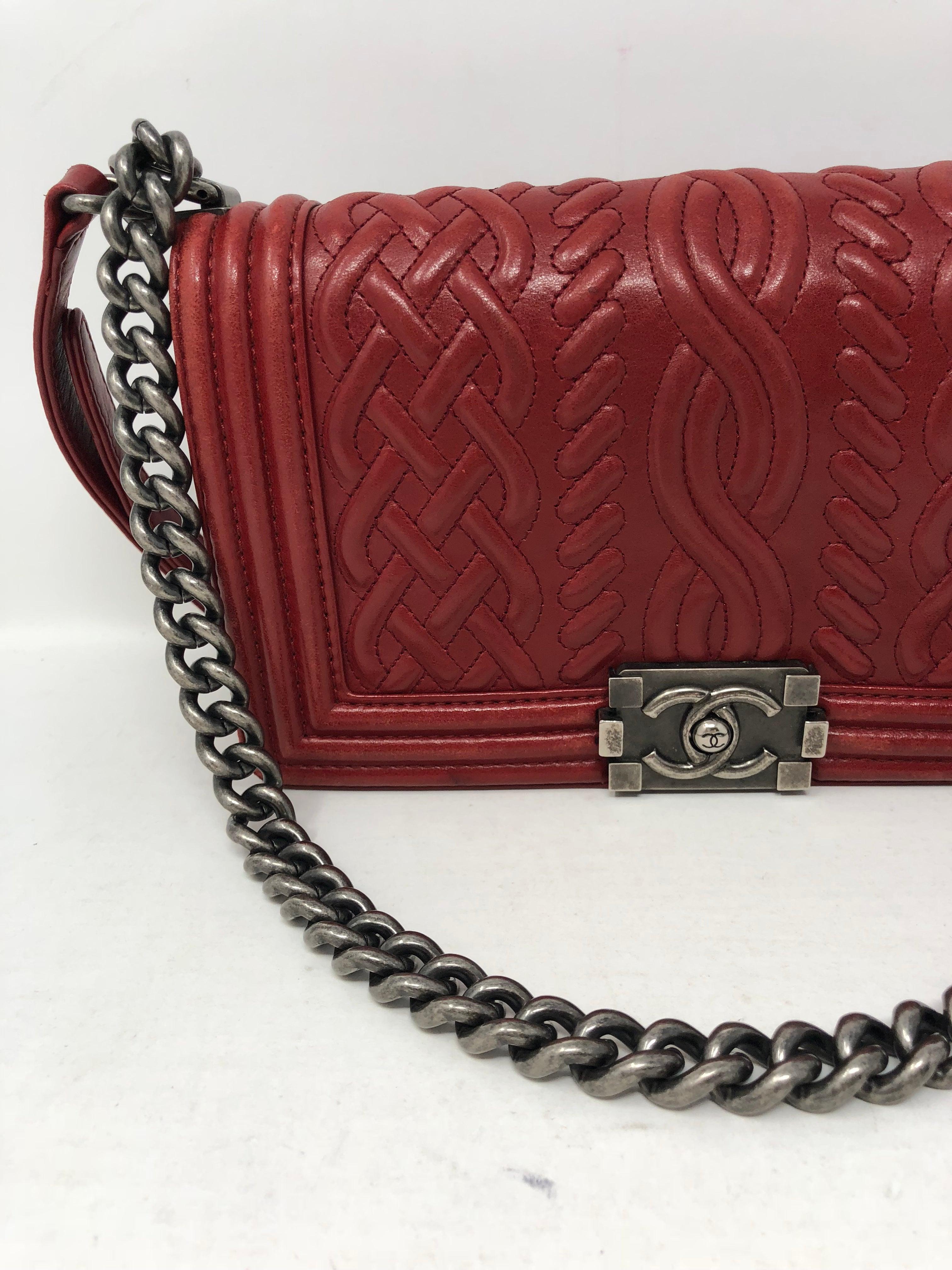 6afda37efb24 Red Chanel Limited Edition Boy Bag at 1stdibs