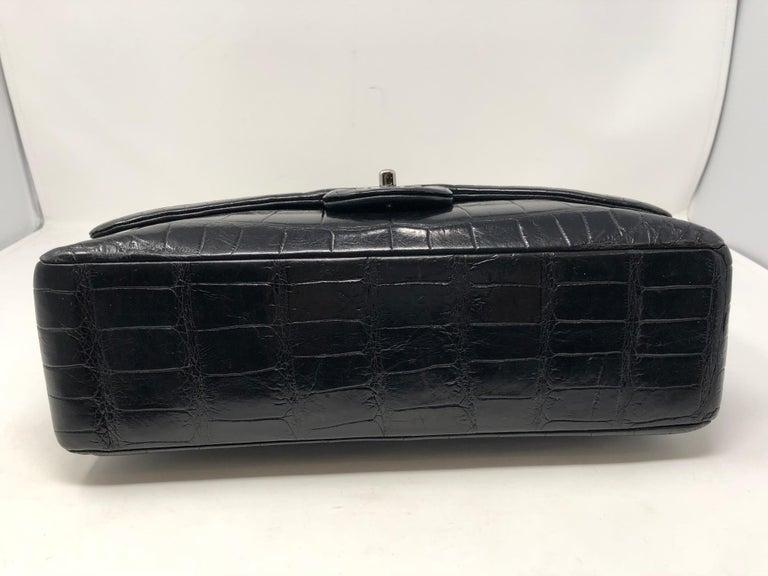 Chanel Crocodile Black Jumbo Bag For Sale 3