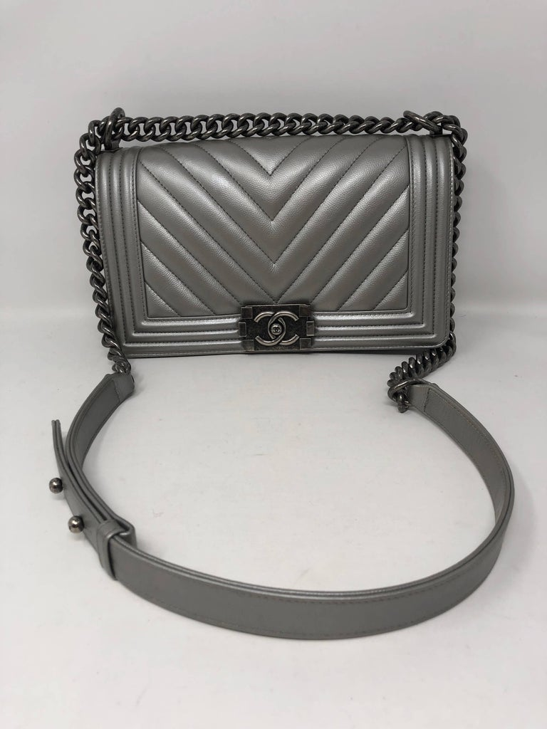 1beacde56b68 Silver Chanel medium plus Boy crossbody or can be worn doubled as a  shoulder bag.