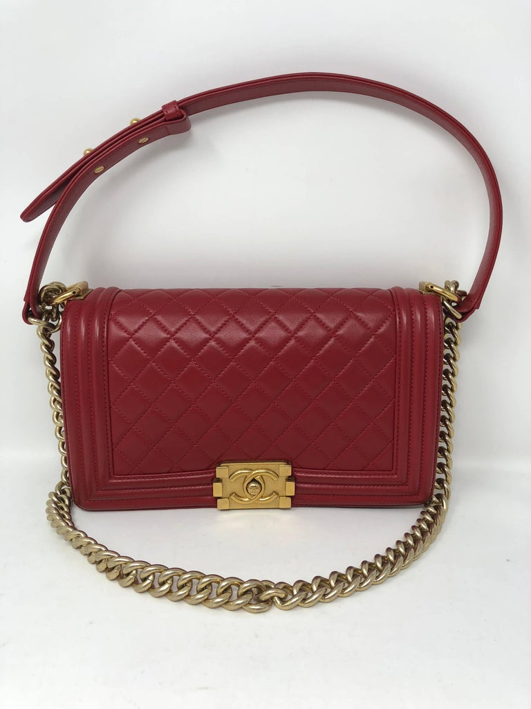 6542a70c610f9c Chanel Le Boy Bag in red quilted lambskin leather with gold hardware. Great  condition.