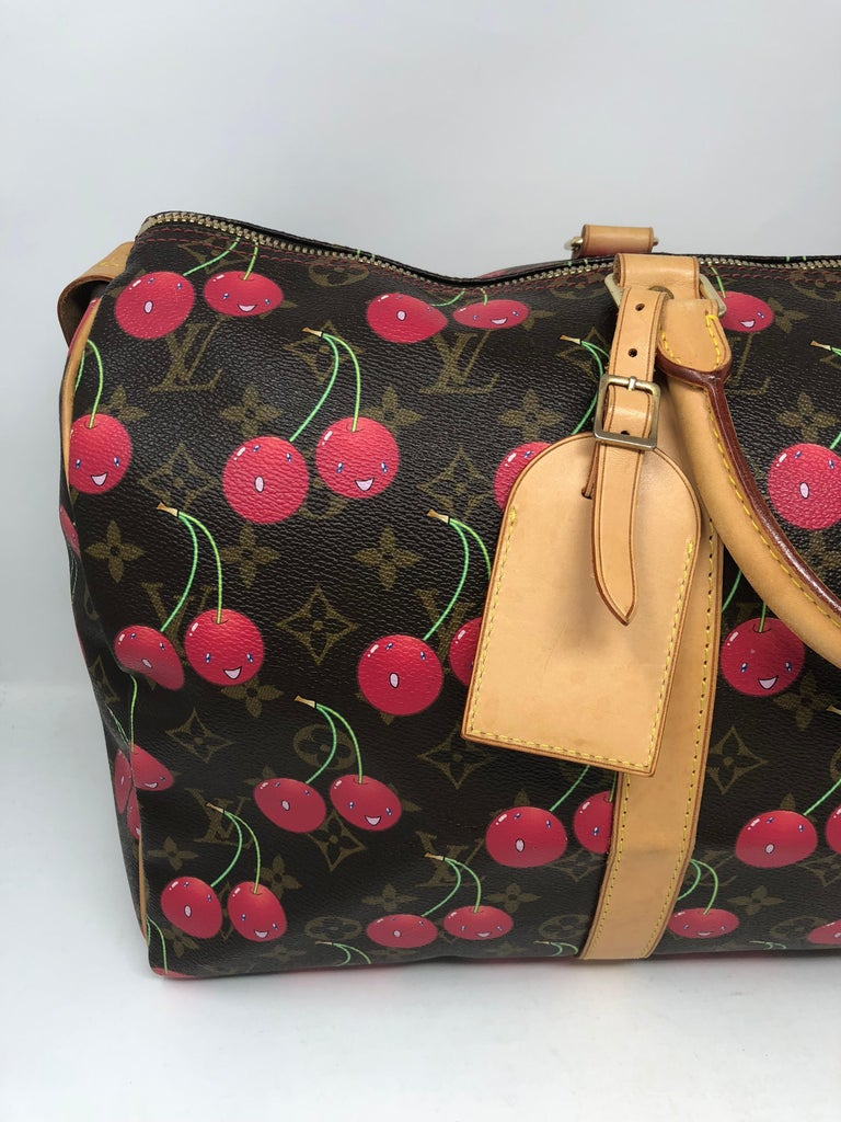 f473808b7a86 LOUIS VUITTON Monogram Cerises Cherry Keepall 45 limited edition release  designed by Takashi Murakami Date code