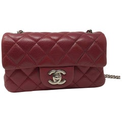 Red Chanel Mini Mini Leather Crossbody Bag