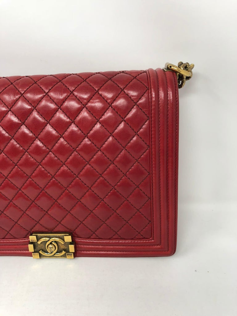 b7aa30711f33 Chanel Red Boy in large size with antique gold hardware. Beautiful dark cherry  red in