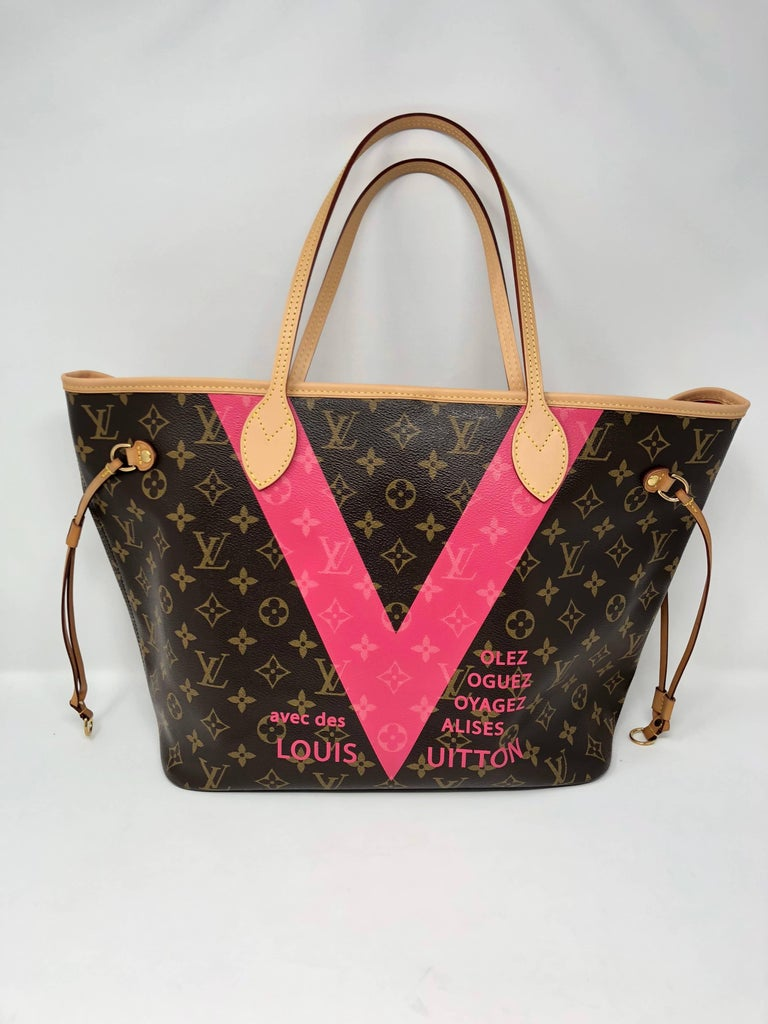 51e50ee5adda ... V Pink Brown For Sale. LV Neverfull MM Limited Edition with pink  interior. Outside is monogram