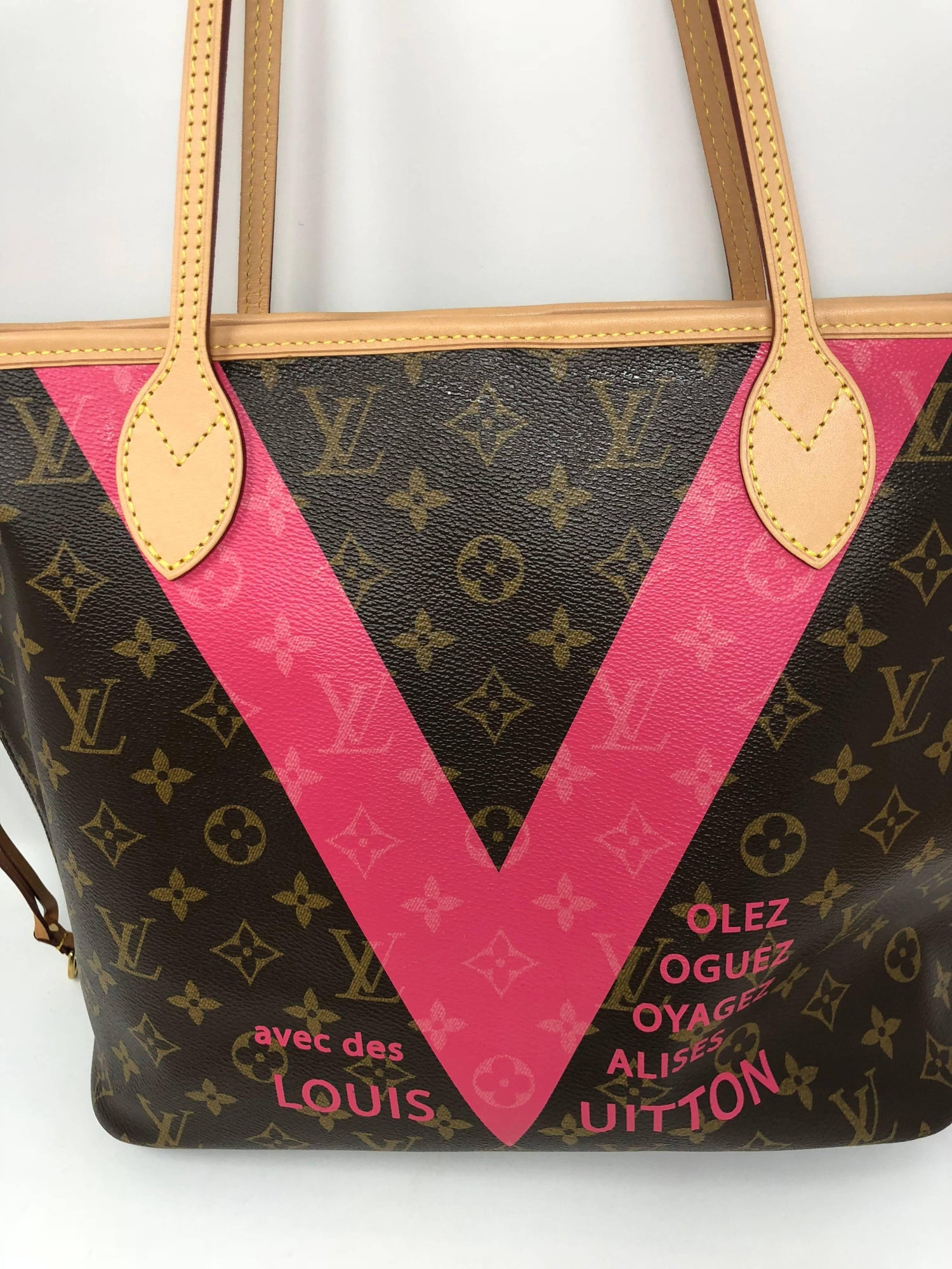 211cd0d98de2 Louis Vuitton Neverfull MM Limited Edition V Pink Brown at 1stdibs