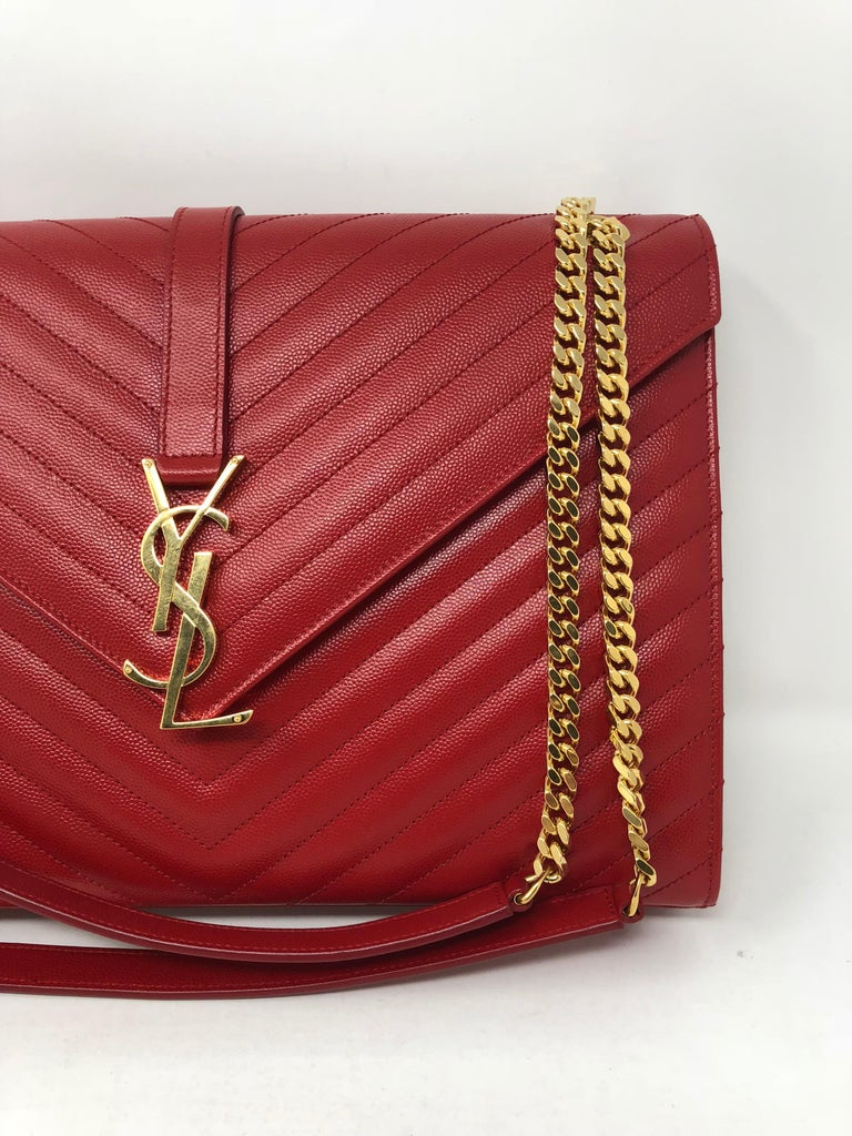 Ysl Red Leather Large Matelasse Chain Shoulder Bag At 1stdibs
