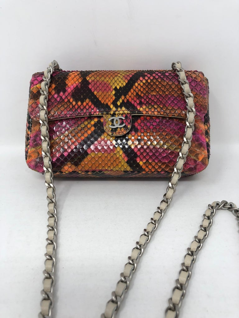 Chanel Python Mini Evening Bag In Pink Orange Yellow And Black Mint Condition