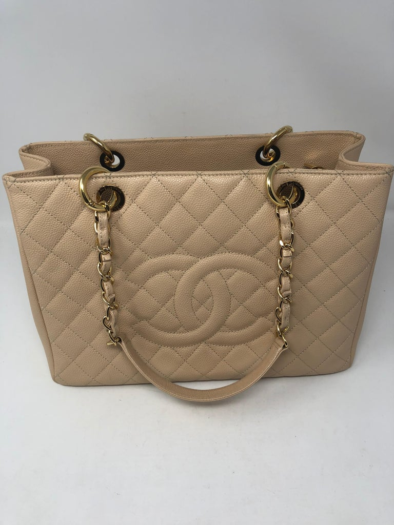 c2b547c2e99f64 Chanel Cream Grand Shopper Tote in Caviar leather. Beautiful cream color  with gold hardware.
