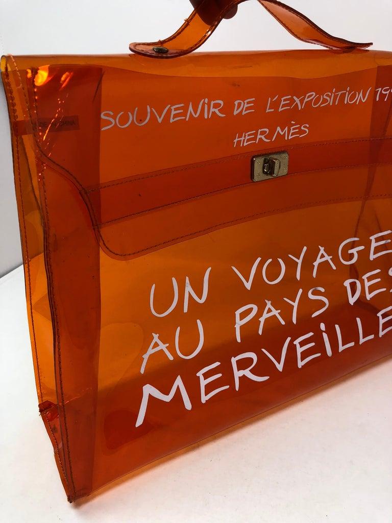 82efb7af33ae Hermes Vintage 1998 Kelly Souvenir De L Exposition Vinyl Translucent Bag.  This clear bag