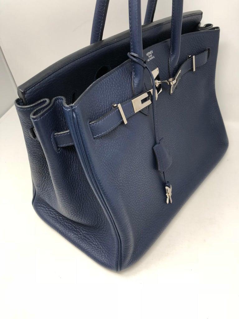 Black Hermes Bleu Abysse Palladium Hardware Birkin 35 Bag For Sale