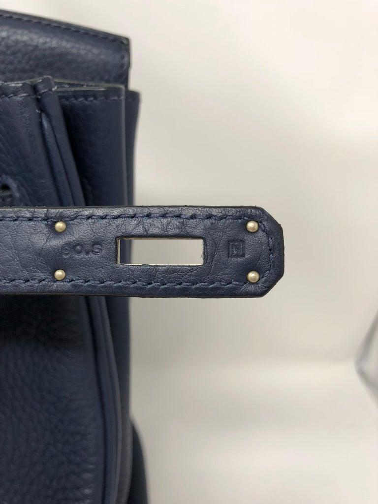 Hermes Bleu Abysse Palladium Hardware Birkin 35 Bag For Sale 11