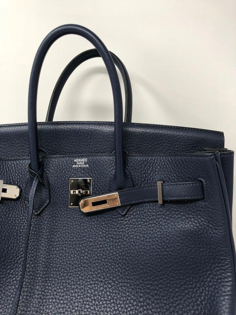 Hermes Bleu Abysse Palladium Hardware Birkin 35 Bag For Sale 4