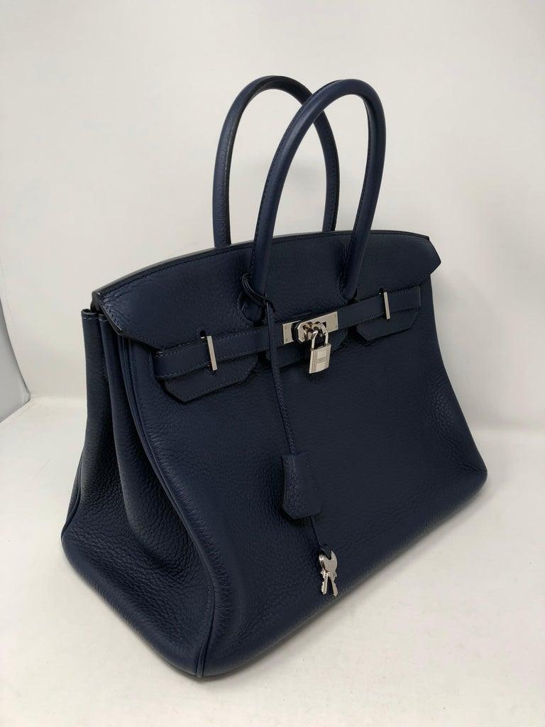 Hermes Bleu Abysse Palladium Hardware Birkin 35 Bag For Sale 9