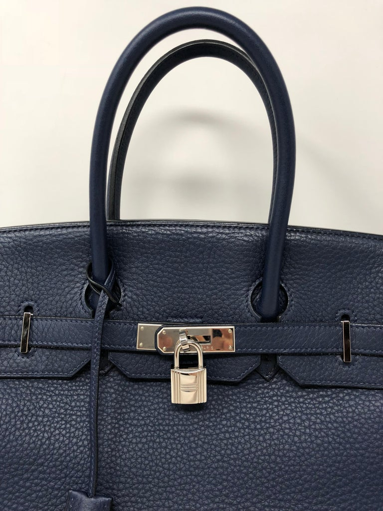 Hermes Bleu Abysse Palladium Hardware Birkin 35 Bag In Excellent Condition For Sale In Athens, GA