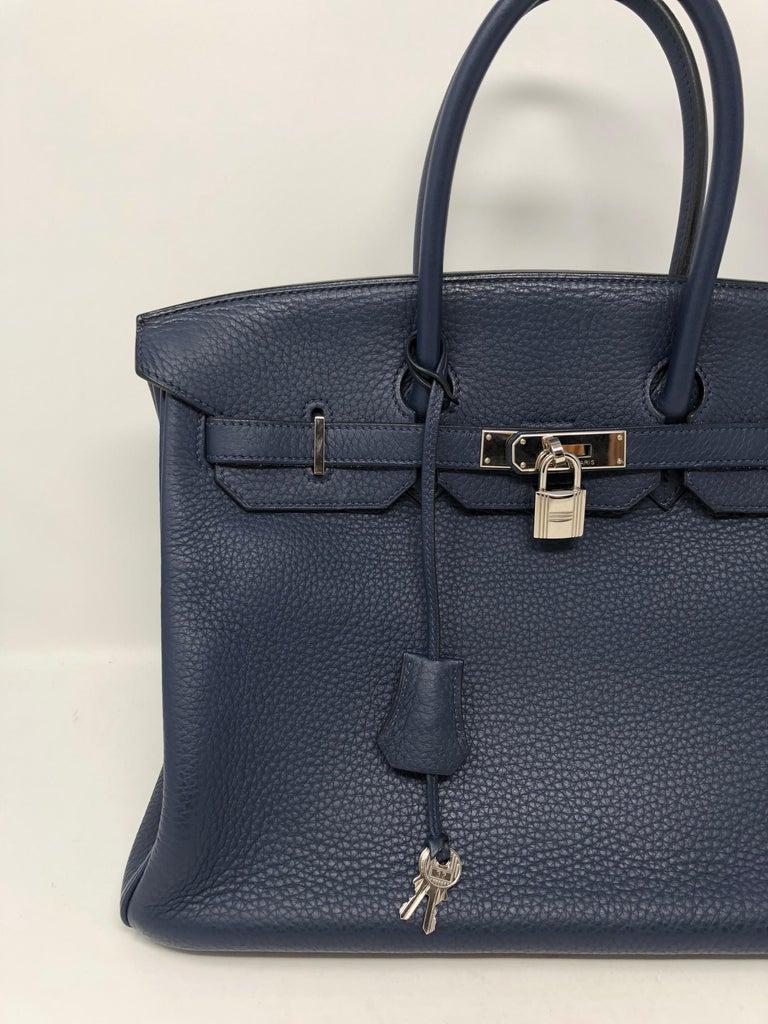 Hermes Bleu Abysse Palladium Hardware Birkin 35 Bag For Sale 6