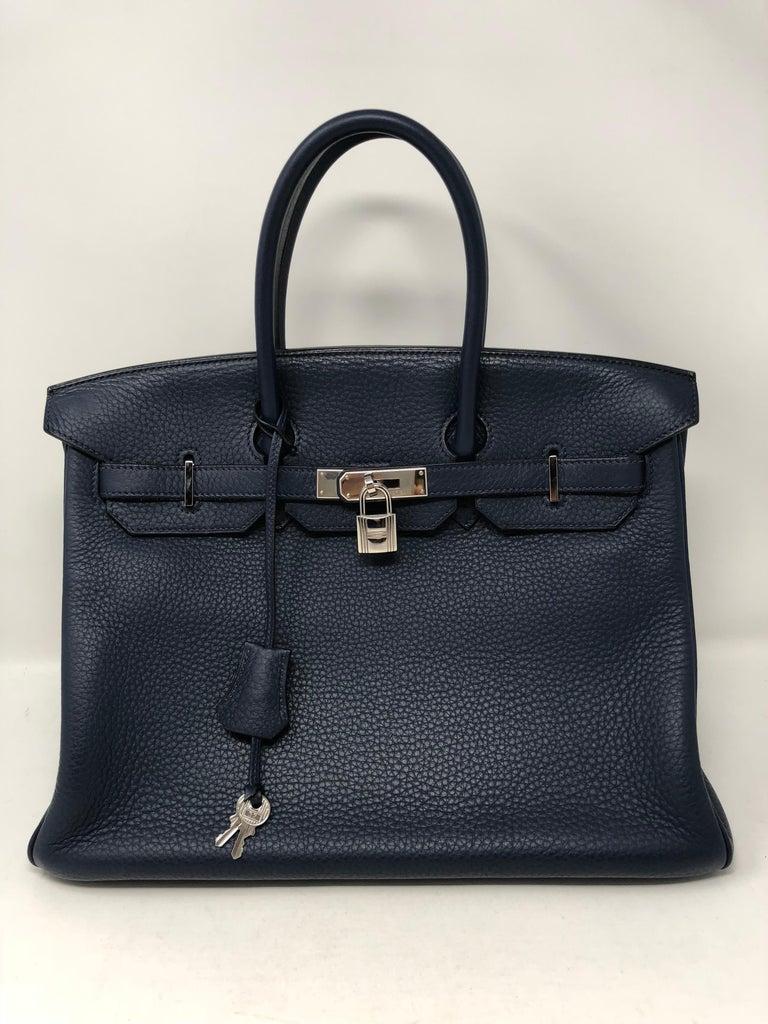 Hermes Bleu Abysse Palladium Hardware Birkin 35 Bag For Sale 8