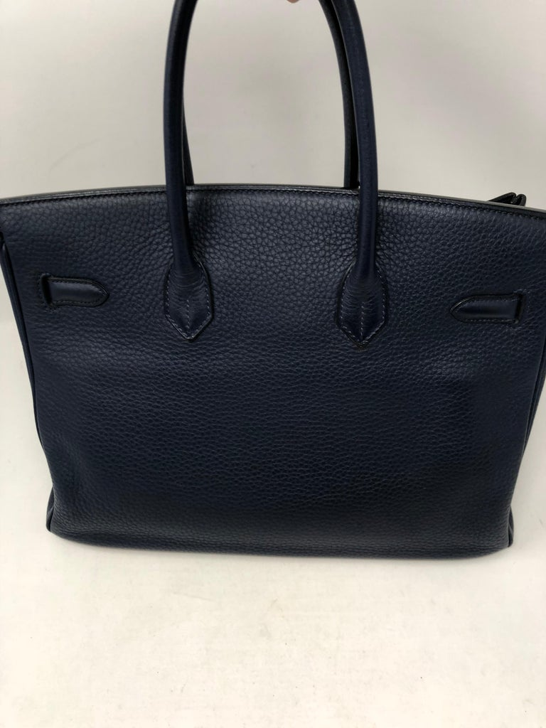 Women's or Men's Hermes Bleu Abysse Palladium Hardware Birkin 35 Bag For Sale