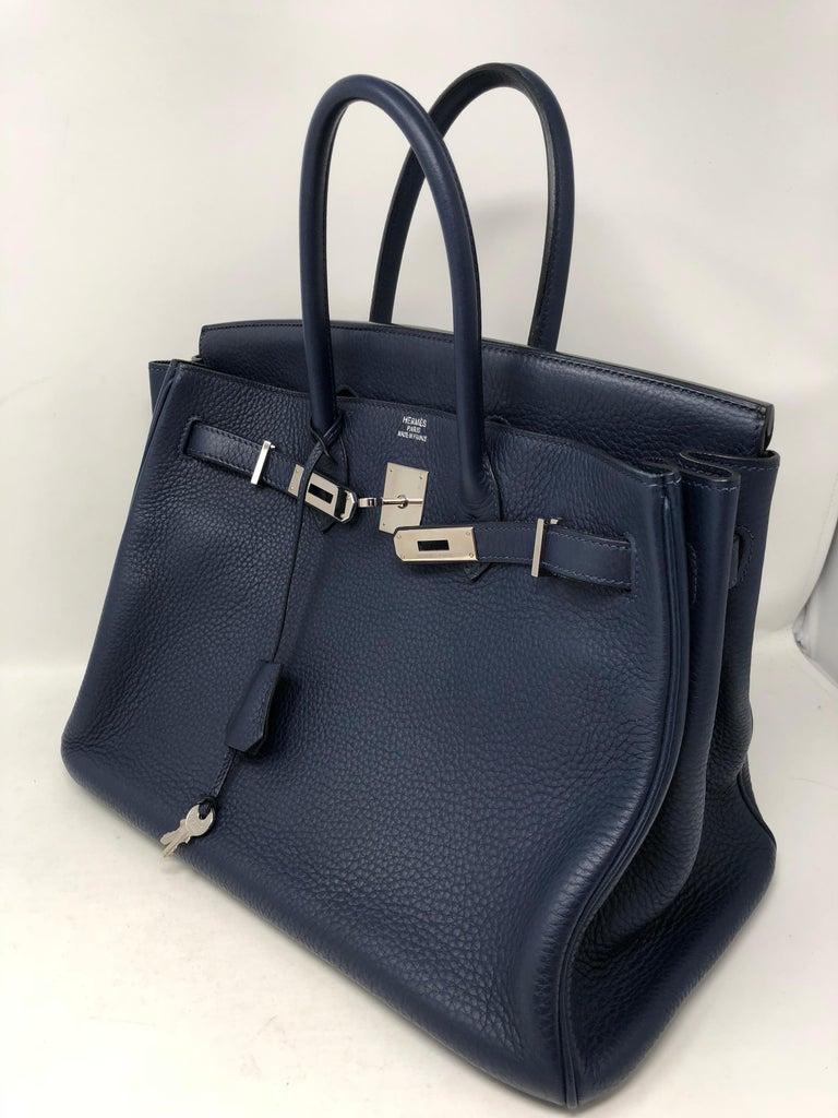 Hermes Bleu Abysse Palladium Hardware Birkin 35 Bag For Sale 5