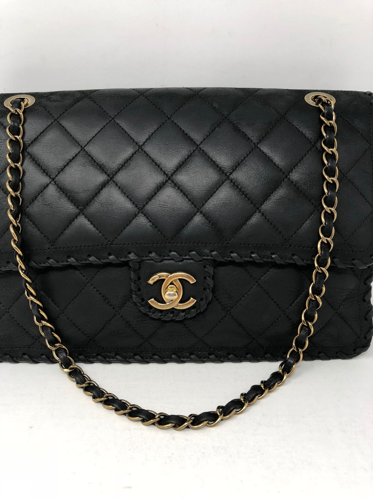 a105dda35588 Chanel Black Happy Stitch Limited Edition Jumbo Bag in Calf leather. Series  21 with antique
