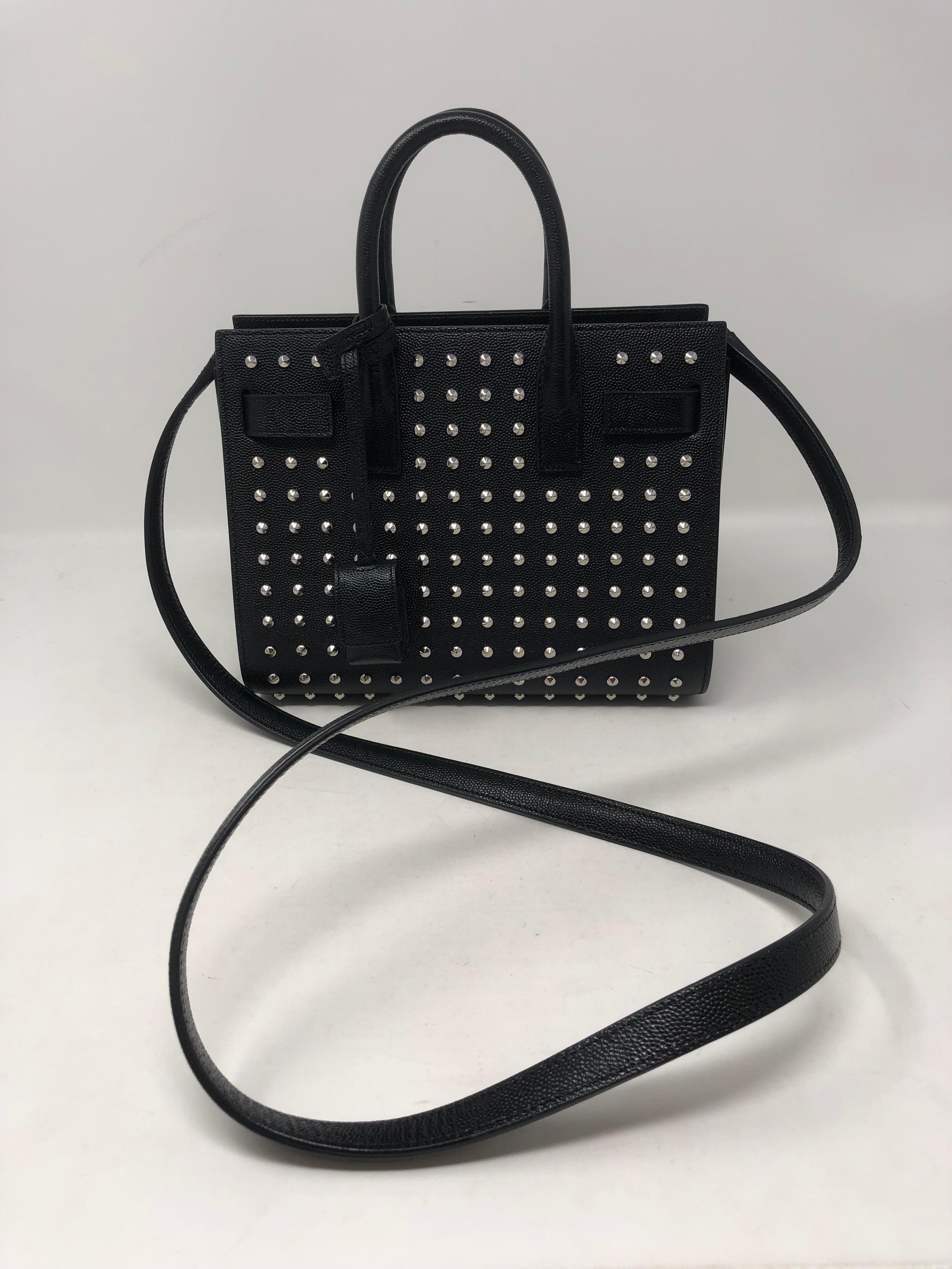 6a4fe2d1ebd Yves Saint Laurent Black Studded Nano Sac Du Jour Bag at 1stdibs