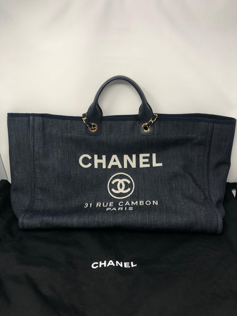 35a99a13a19ef9 Chanel Deauville Tote XL Bag In New Condition For Sale In Athens, GA