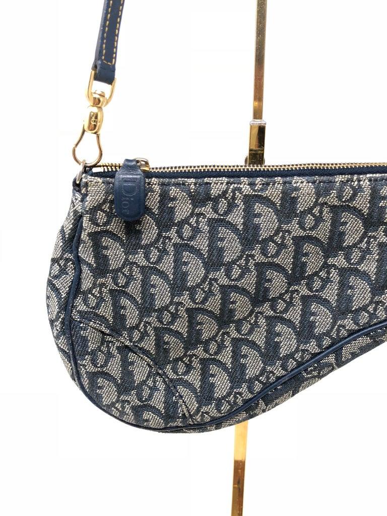 87d463fb0ce0 Black Christian Dior Monogram Denim Saddle Bag For Sale