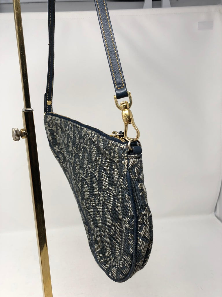 d98ead2b1b3b Christian Dior Monogram Denim Saddle Bag at 1stdibs