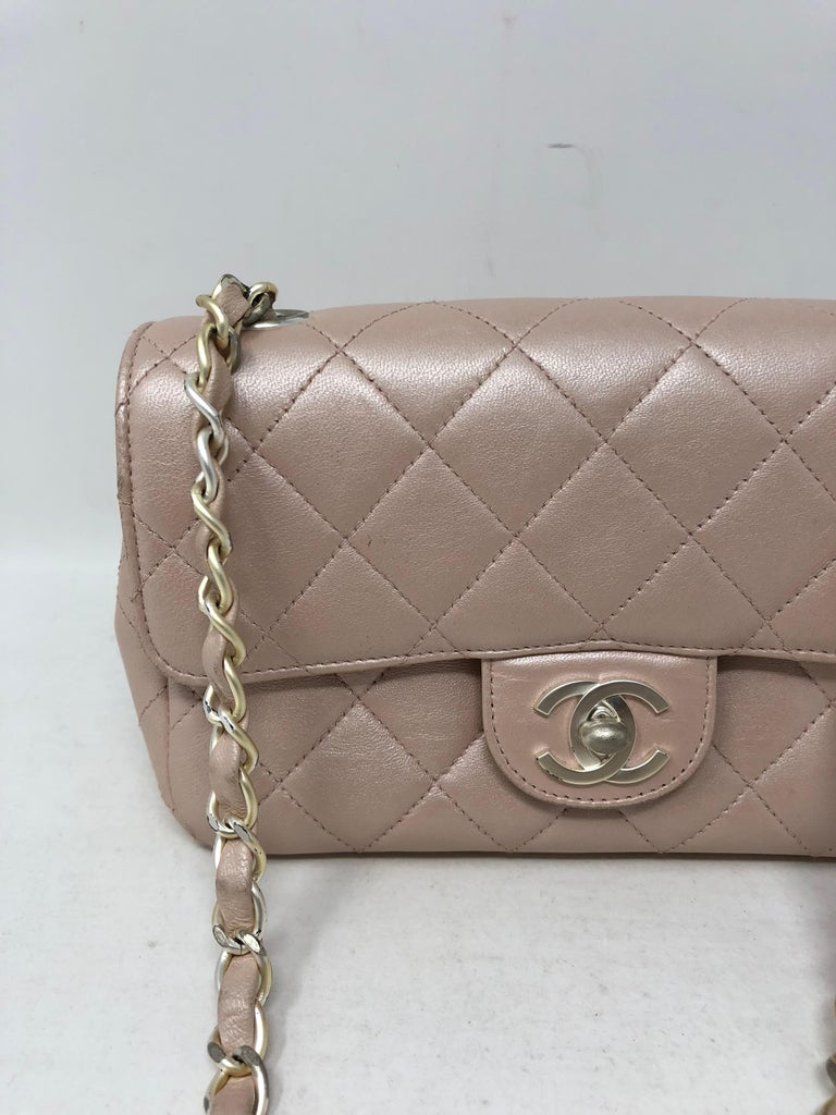 b85d6b143fbe3d Chanel pale pink metallic crossbody bag with silver hardware. Fits a cell  phone and wallet