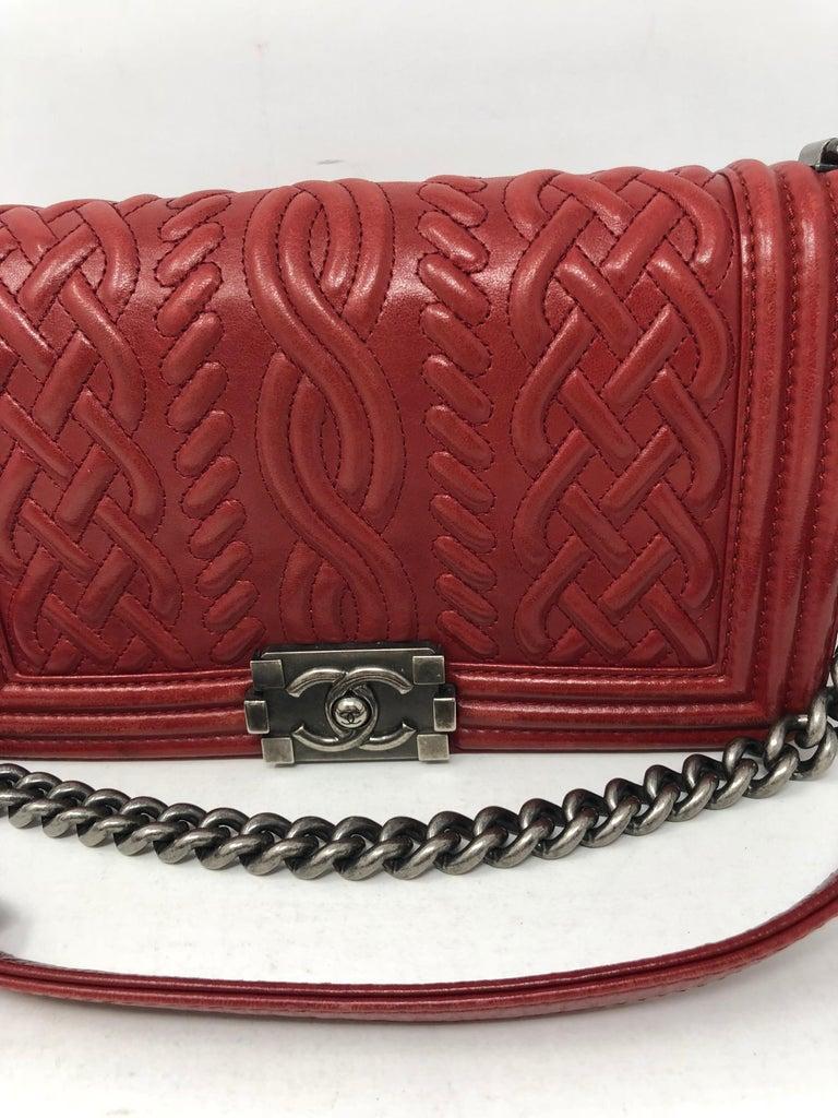 b472fa678afc Red Chanel Limited Edition Boy Bag For Sale 3