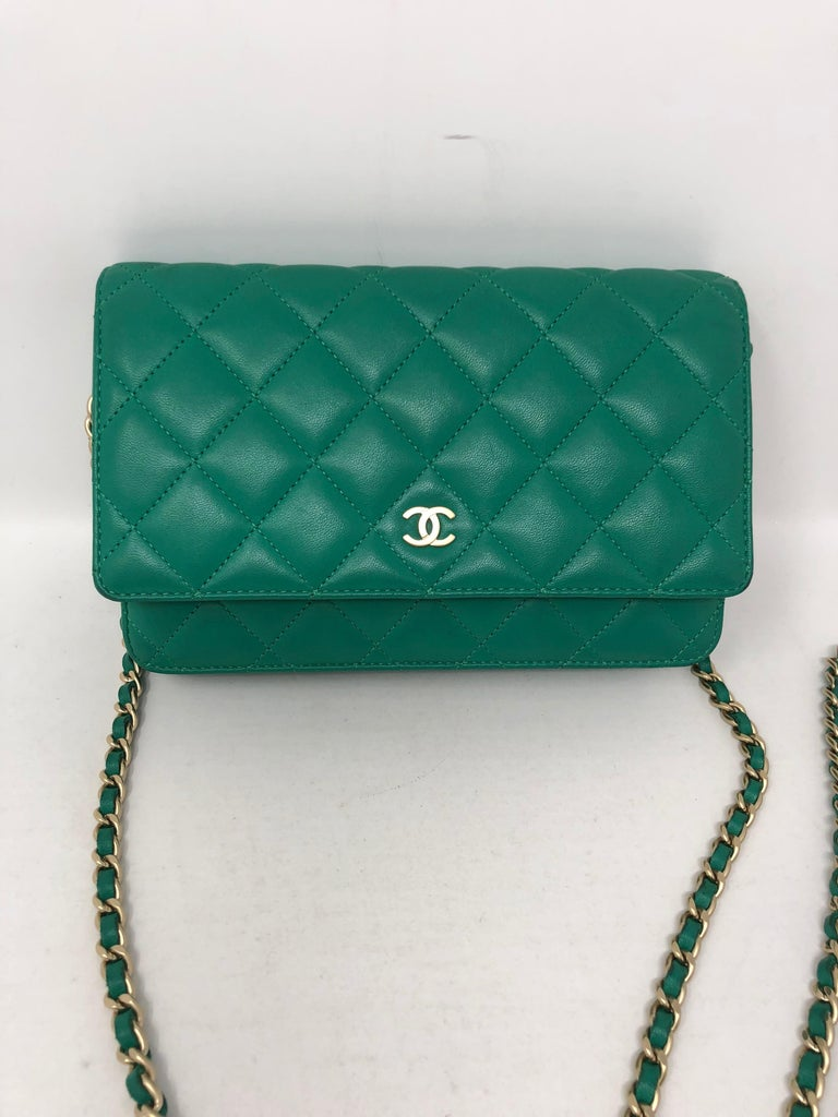 6ab676b88abc50 Chanel Mint Green Wallet on a Chain Crossbody Bag. Bright green color with  silver hardware