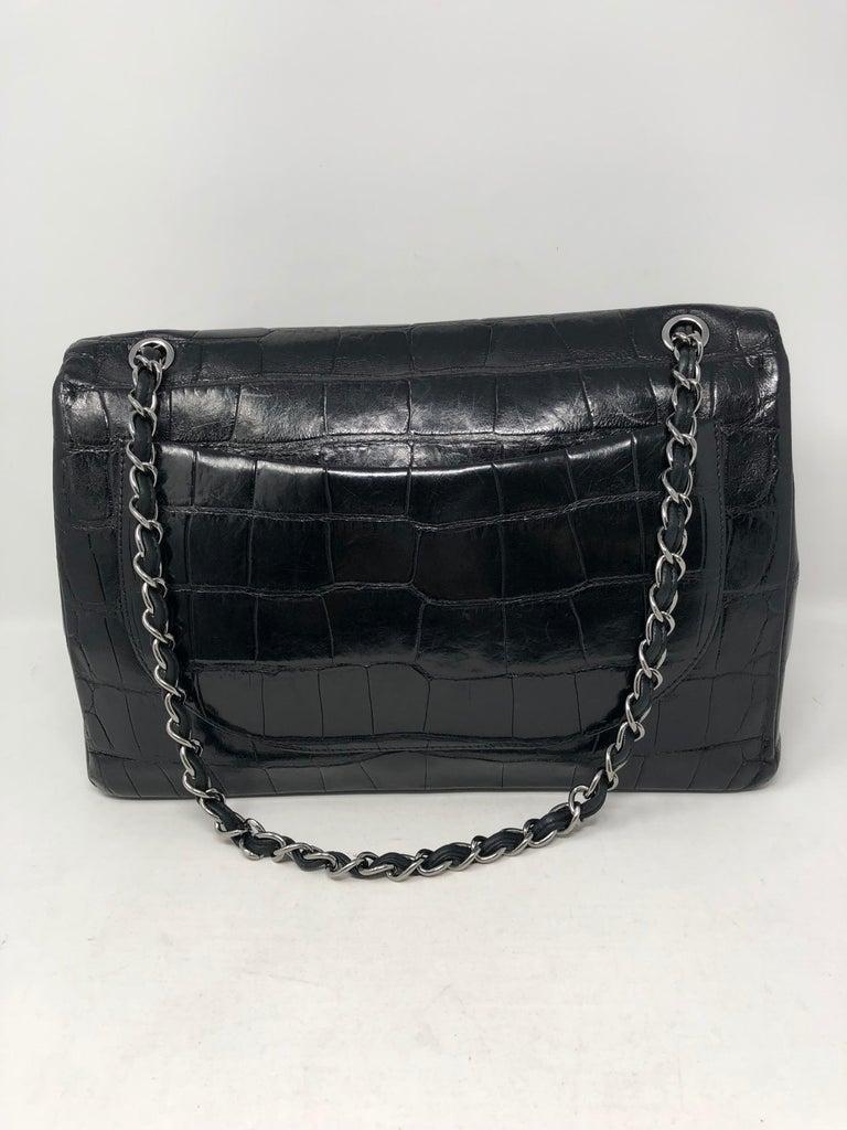Chanel Crocodile Black Jumbo Bag For Sale 1