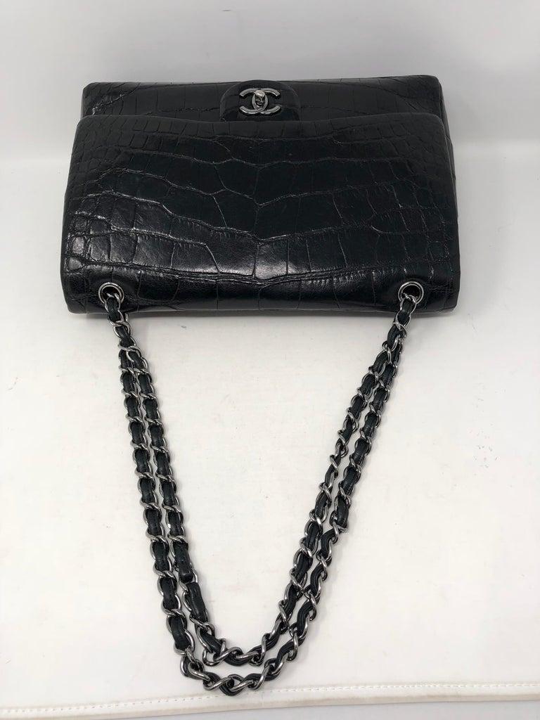 Chanel Crocodile Black Jumbo Bag For Sale 10