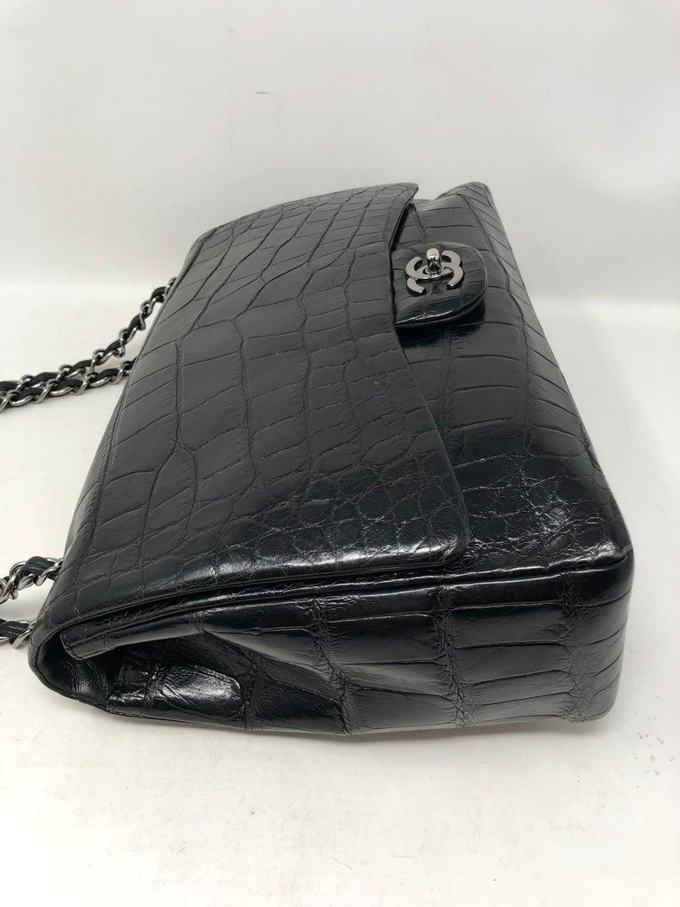 Chanel Crocodile Black Jumbo Bag For Sale 4