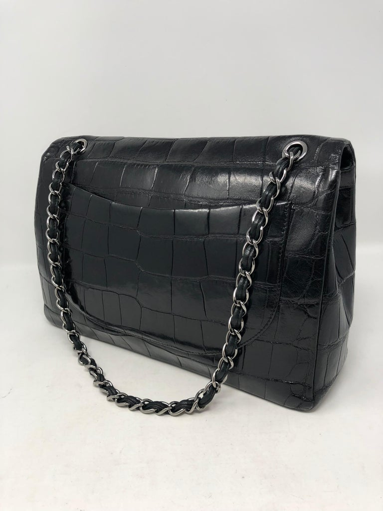 Chanel Crocodile Black Jumbo Bag In Good Condition For Sale In Athens, GA
