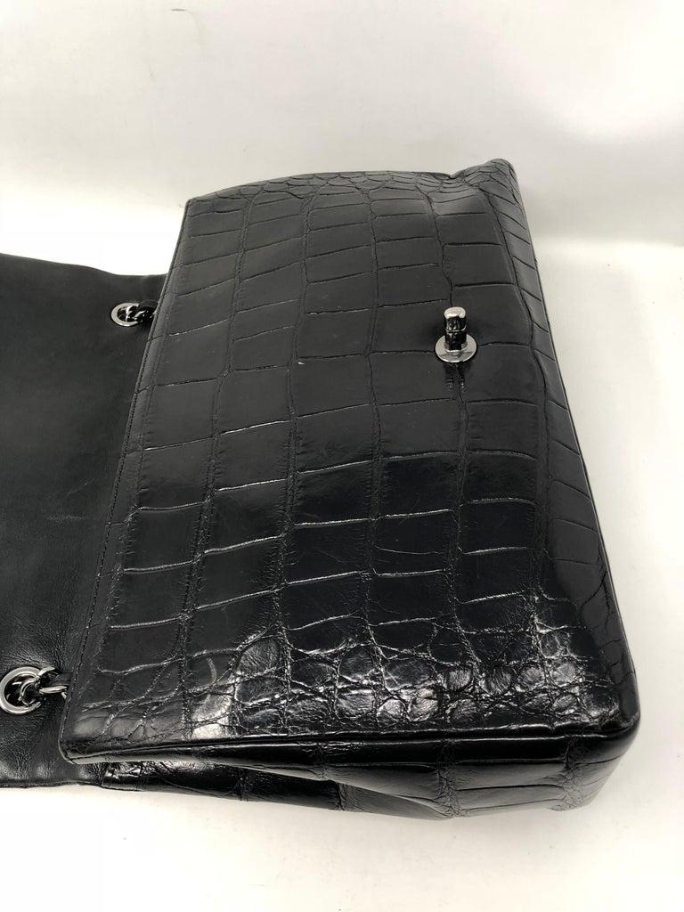 Chanel Crocodile Black Jumbo Bag For Sale 6