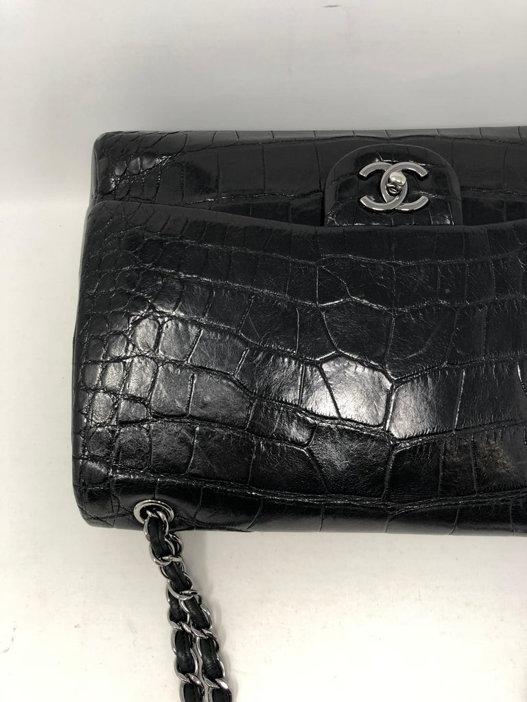 Chanel Crocodile Black Jumbo Bag For Sale 11