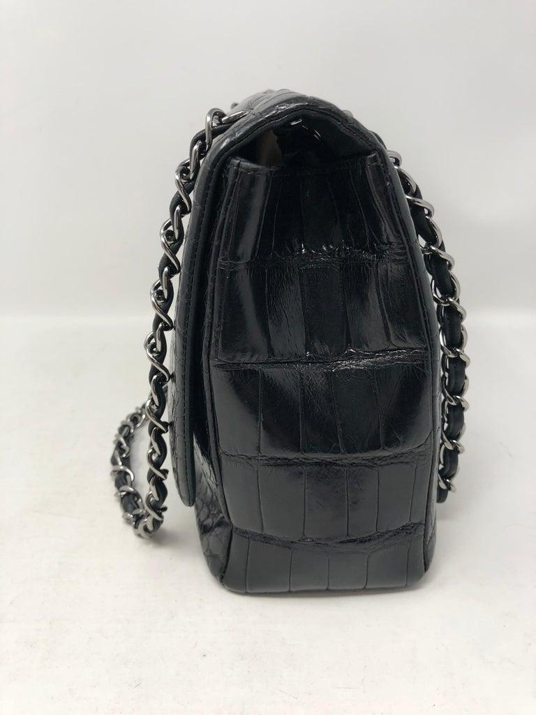 Chanel Crocodile Black Jumbo Bag For Sale 2
