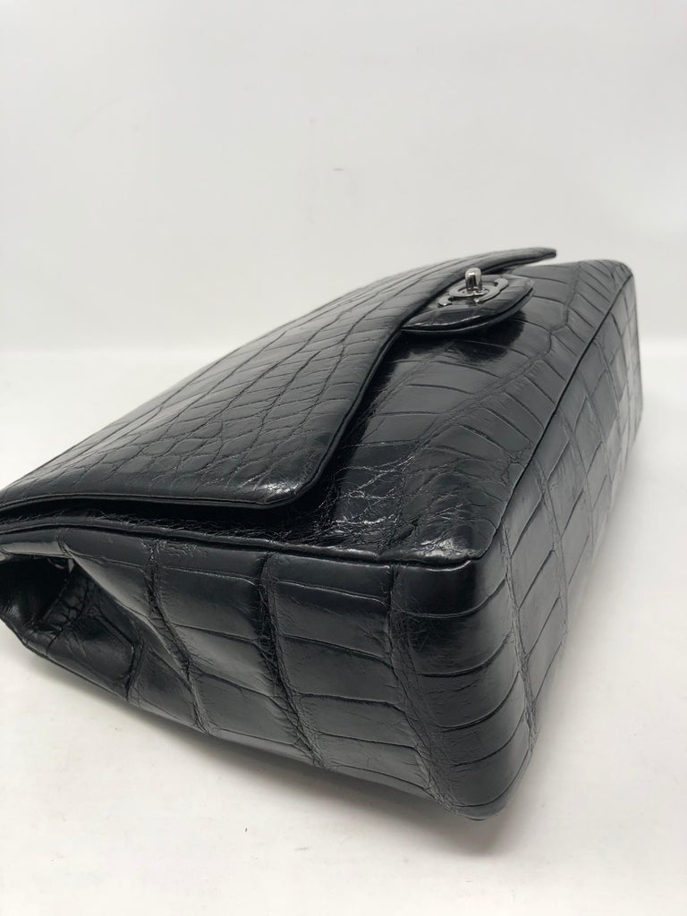 Chanel Crocodile Black Jumbo Bag For Sale 12
