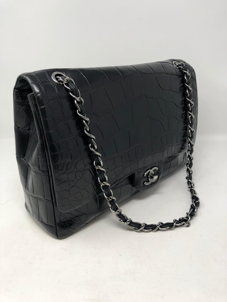 Chanel Crocodile Black Jumbo Bag. Beautiful and rare crocodile bag with silver hardware. Stunnin bag in good condition. Celebrity owned and needs a good home. Most wanted Jumbo size 12