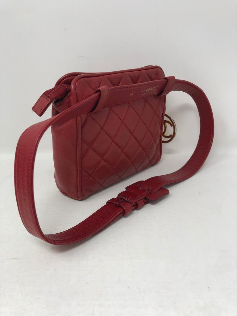 d8c29c9bc328 Red Chanel Fanny Pack/ Belt For Sale 1