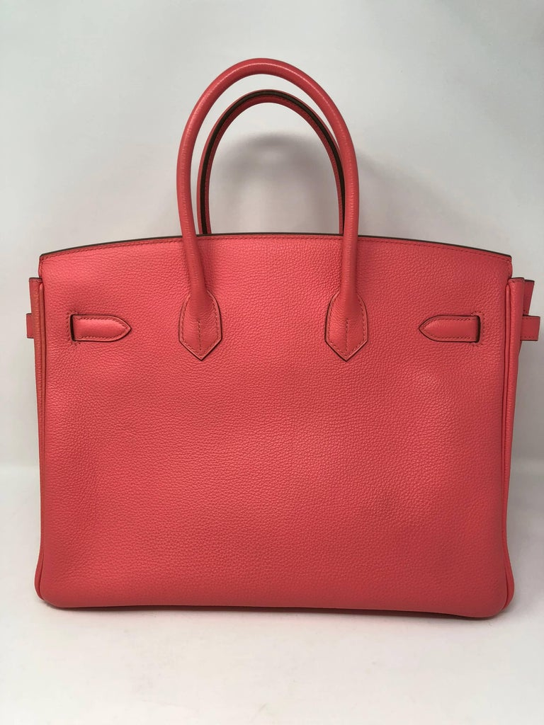 Hermes Birkin 35 in Bubble gum pink color with silver hardware. Bag is like new condition from 2012 and has a little storage smell.