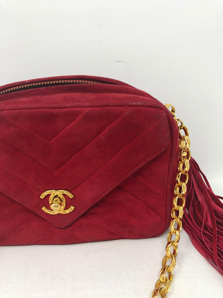 d7e2717a4c63 Chanel Red Suede Bag with Fringe For Sale at 1stdibs