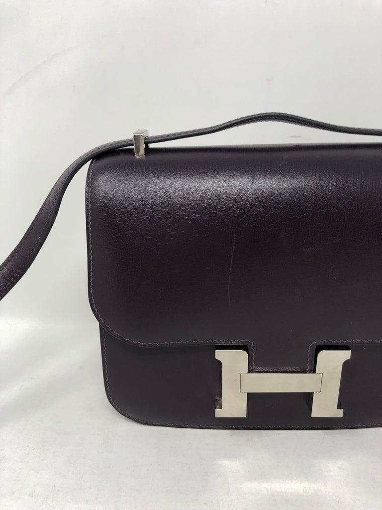 Black Hermes Mini Constance 18 Purple Bag For Sale