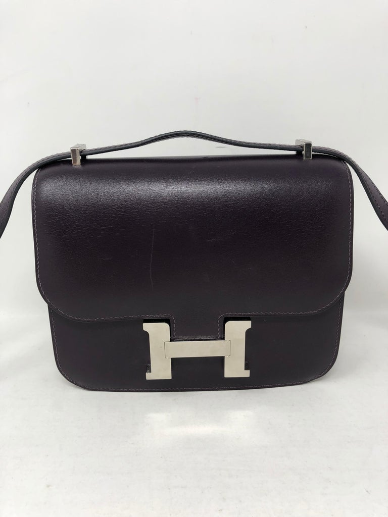 Hermes Mini Constance 18 Purple Bag In Good Condition For Sale In Athens, GA