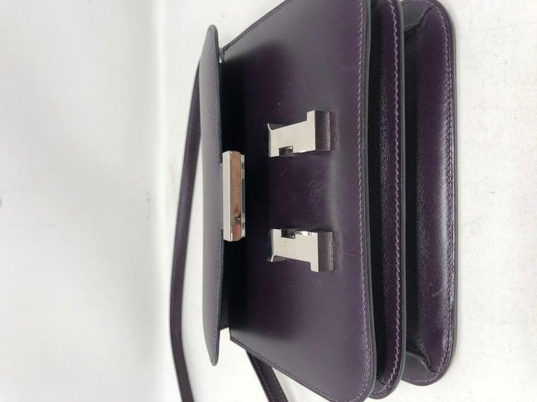 Hermes Mini Constance 18 Purple Bag For Sale 8