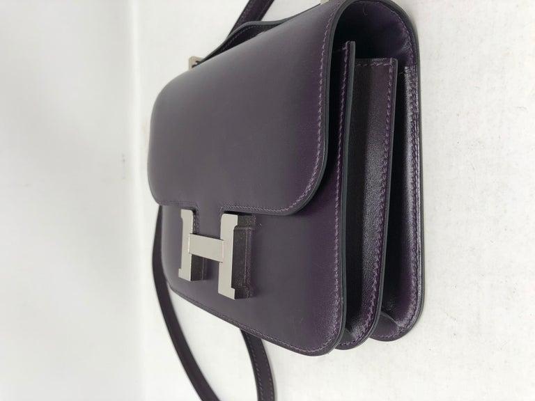 Hermes Mini Constance 18 Purple Bag For Sale 9