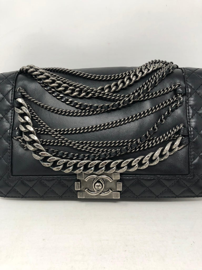 e5325128fb6d Chanel Black Chains Around Boy Bag 1