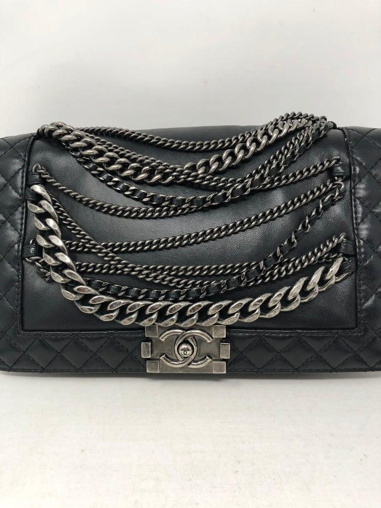e9951befd106 Chanel Black Chains Around Boy Bag At 1stdibs